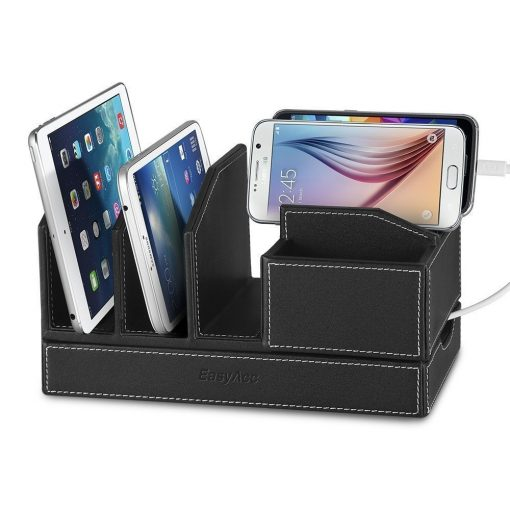 EasyAcc Single-deck Multi-device Charging Organization Station Docks Stand for Smart Phones and Ipads Tablets iPhone 7/7 plus Samsung Galaxy S8/ S8 Plus Black Pu Leather