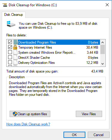 Disk Cleanup for C drive