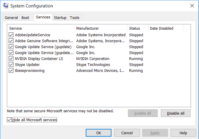 Hide all microsoft services