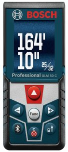 Bosch GLM 50 C Bluetooth Enabled Laser Distance Measurer with Color Backlit Display