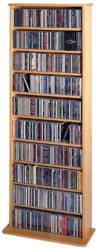 Leslie Dame CDV-500 High-Capacity Oak Veneer Multimedia Storage Rack