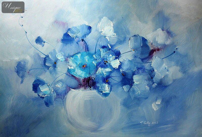 Www 3d Flower Wallpaper Com Blue Flowers Painting 15 Background Hdflowerwallpaper Com