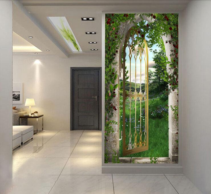 Funny 3d Wallpaper Garden Gate Wallpaper Self Adhesive Hd Wallpaper