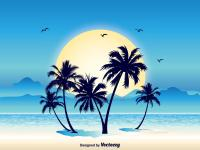 palm tree with yellow sun background
