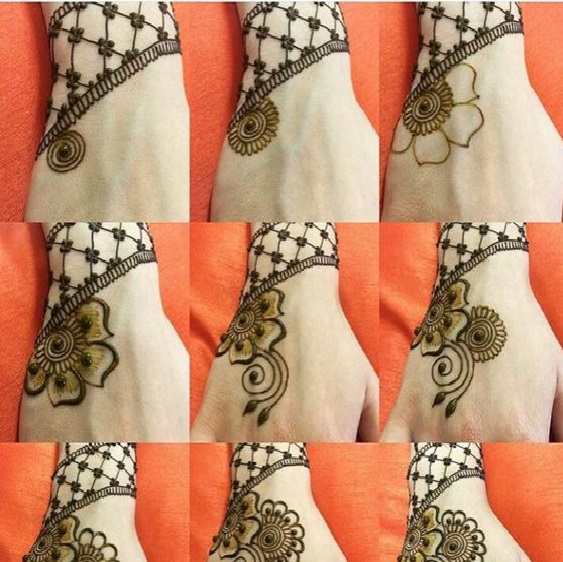 1 to 9 step mehndi designs images complete pattern