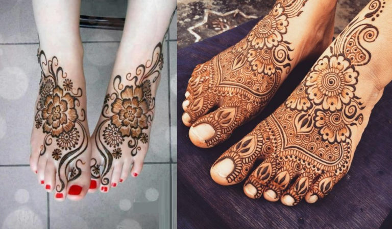 HD feet black mehndi designs full set