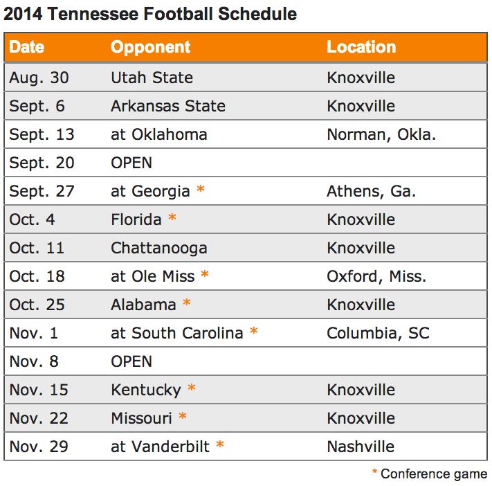 2014 Vols Football Schedule