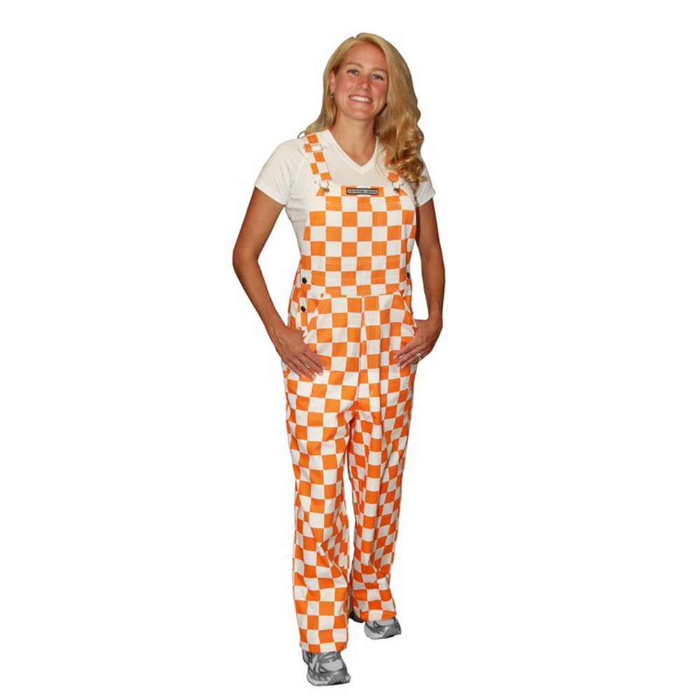 Game Bibs Youth Checkered Orange//White Overalls