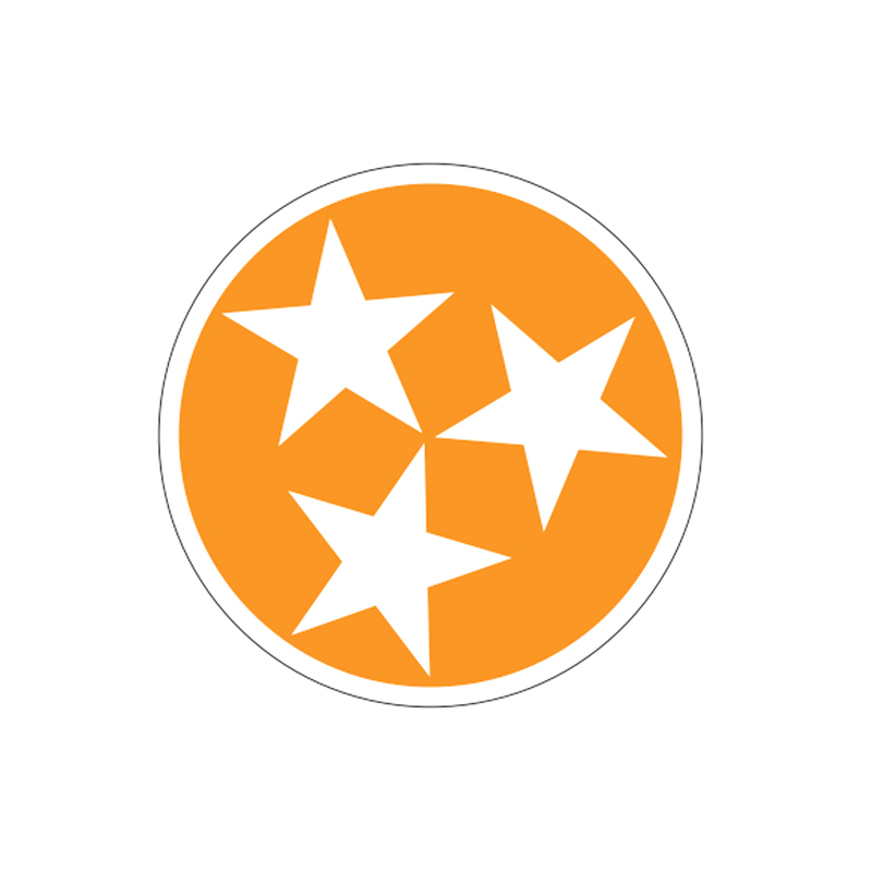 Orange & White Tennessee Stars 6″ Decal | HoundDogs of Knoxville