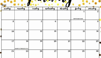 2019 Calendar Printable One Page Template