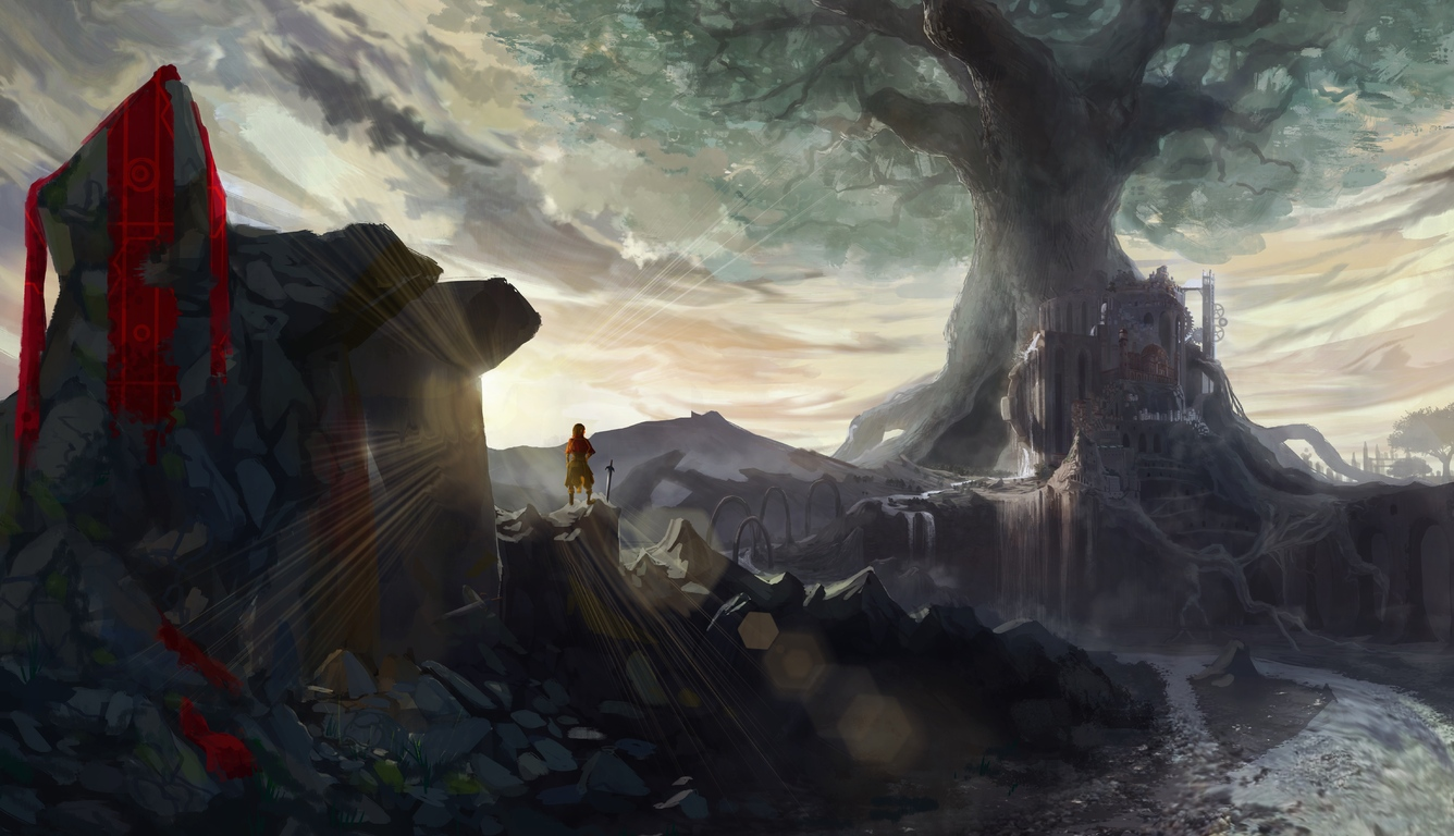 Cute Wallpapers For Girls For Computer 1336x768 Anime Warrior Girl With Sword On Mountain Artwork