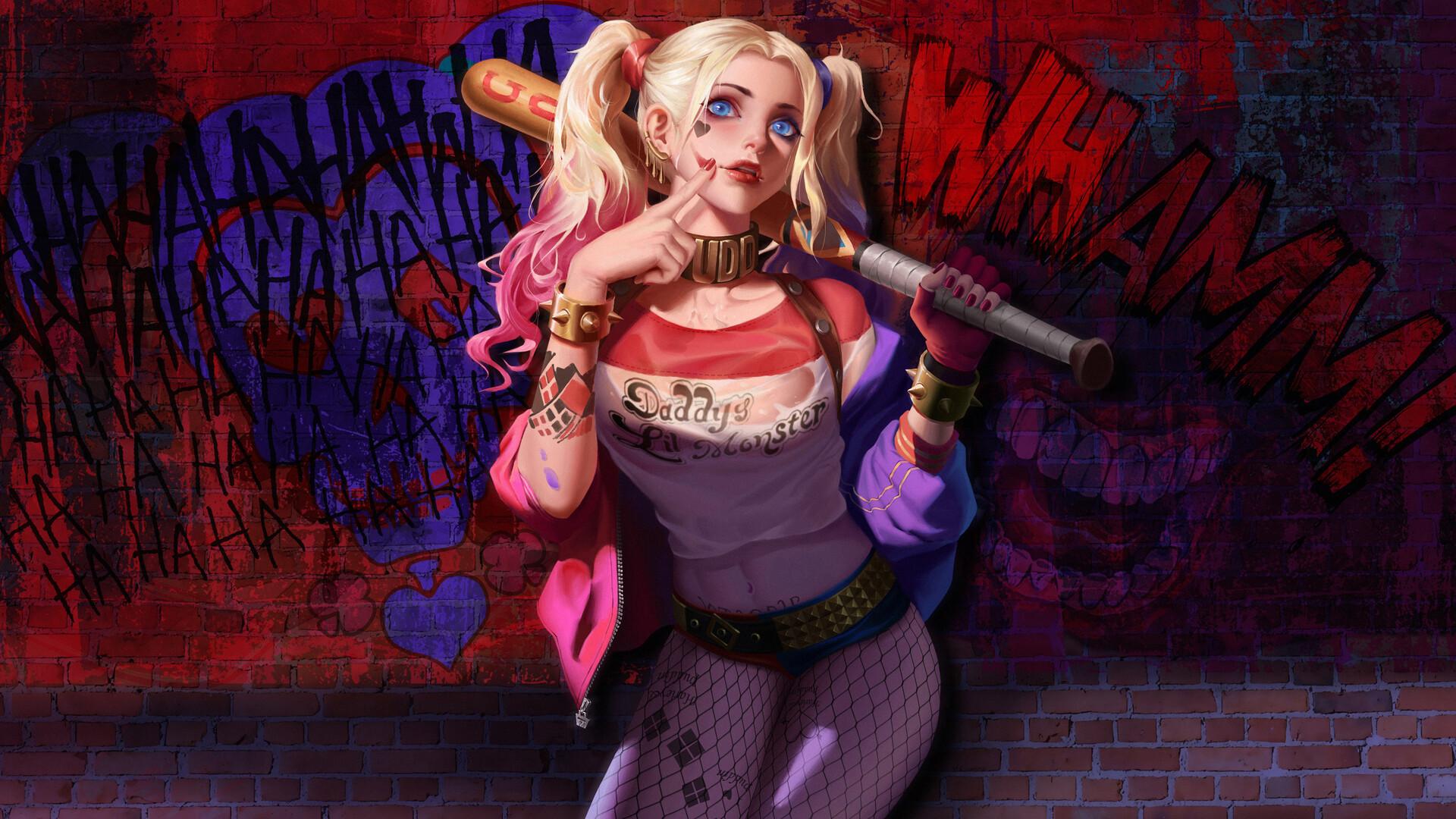 Gaming Pc Wallpaper For Girls 1920x1080 Artwork Harley Quinn 4k Laptop Full Hd 1080p Hd