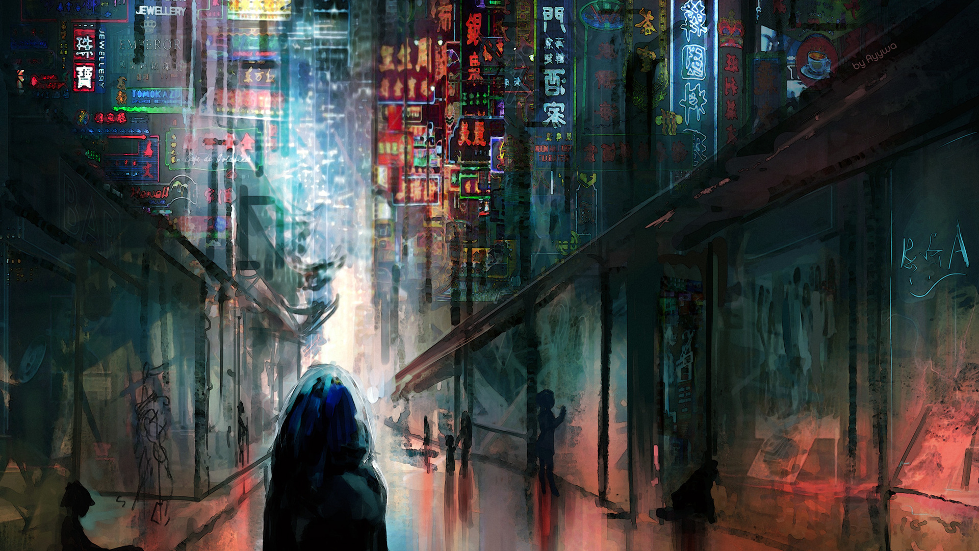Indian Girl Wallpapers For Desktop Sketch 1920x1080 Anime Cyberpunk Scifi City Lights Night