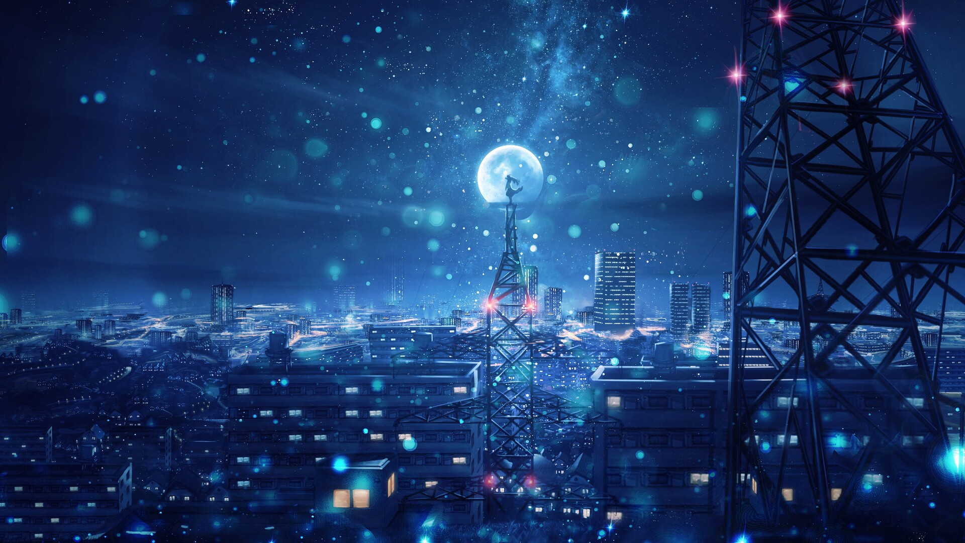Impact_rad perfect for a nursery, boy's or girl's room, one can dream peacefully amidst the clouds, in this w. 1920x1080 Blue Night Big Moon Anime Scenery 4k Laptop Full