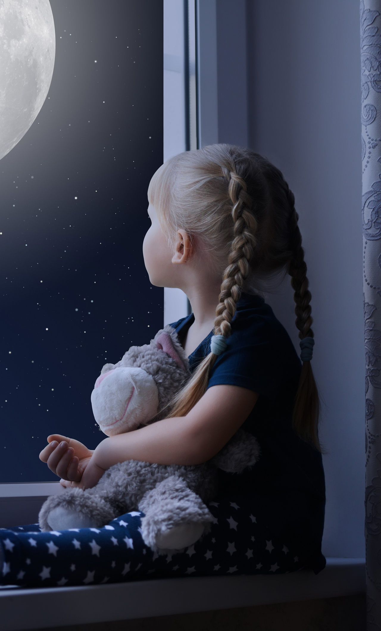 Little Girl Wallpaper 800x1280 1280x2120 Little Girl Sadly Out Of A Window With A Teddy