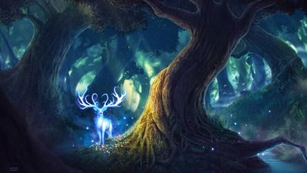 fantasy forest deer magic resolution 1440p wallpapers hd backgrounds artwork 4k