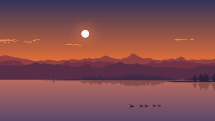 sunset minimal lake wallpapers hd 1080p nature laptop minimalism 4k backgrounds