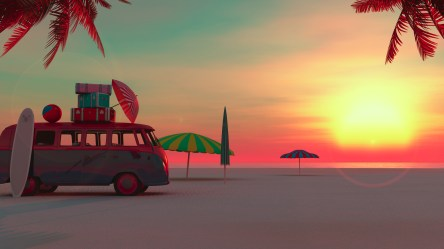 beach 4k van minimalism summertime laptop wallpapers hd picnic resolution 3d vacation minimalist 1080p backgrounds summer hdqwalls backiee tp graphics