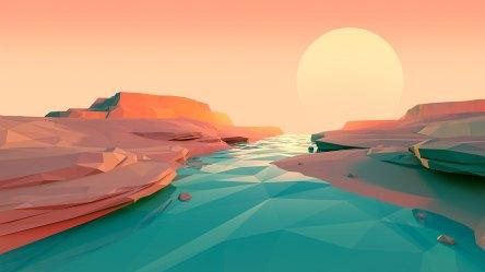 minimalist sunset polygon lake wallpapers hd laptop 1080p resolution hl 4k low backgrounds poly minimalism