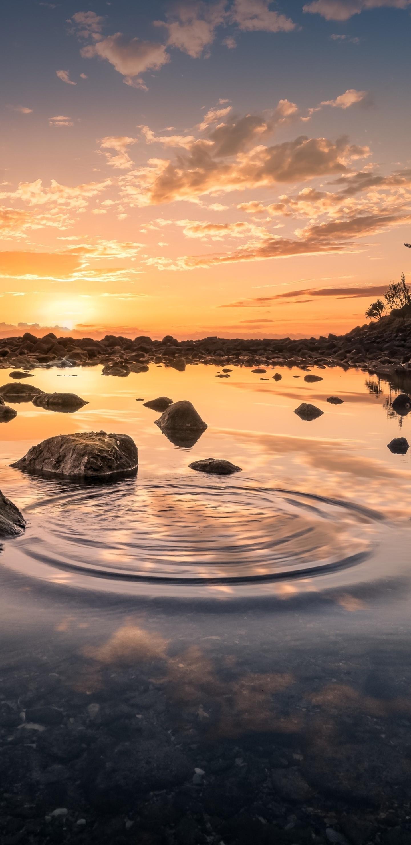 3d Wallpaper S8 1440x2960 Sky Scenic Landscape Water Reflection Rocks