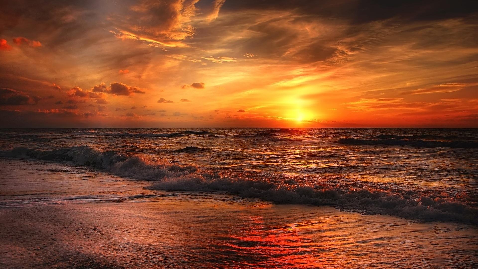 1920x1080 sunset beach laptop