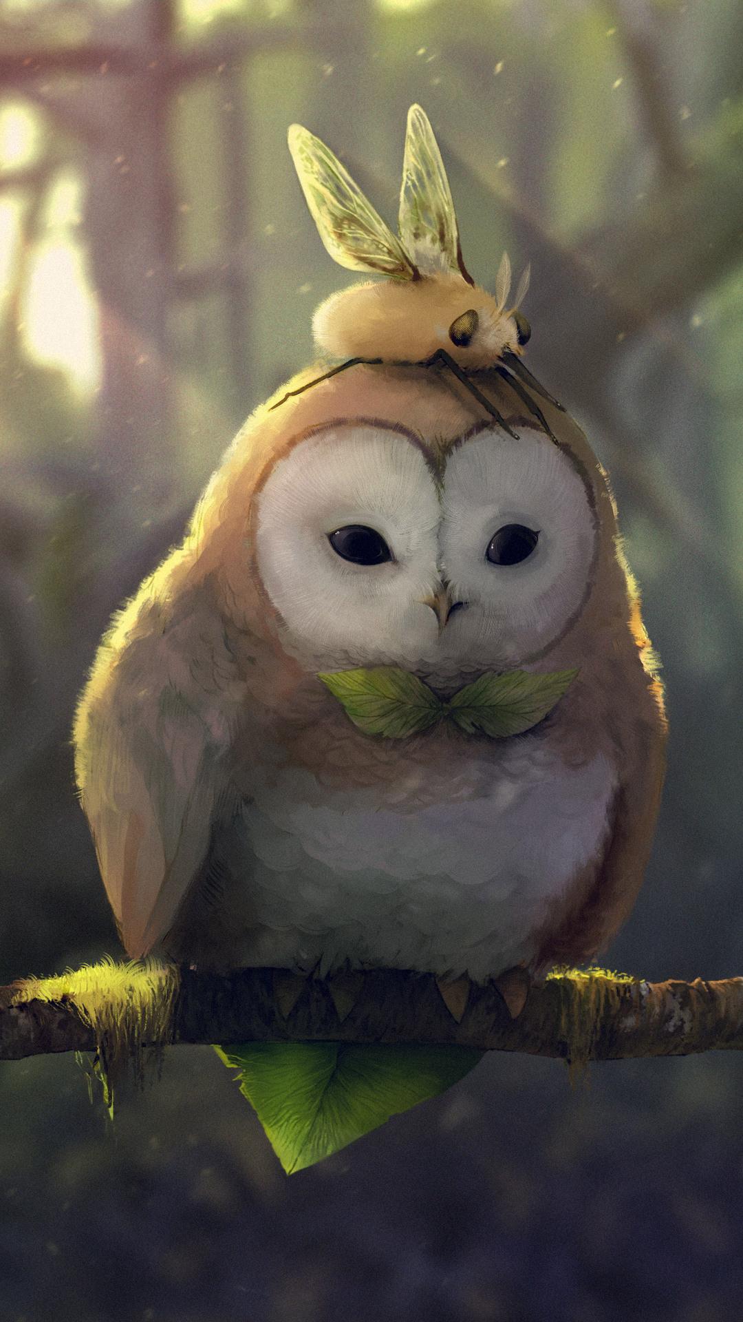 Wallpaper Girls Animados 1080x1920 Tranquil Owl Iphone 7 6s 6 Plus Pixel Xl One
