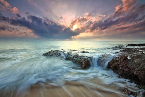 beach sea dawn dusk landscape ocean
