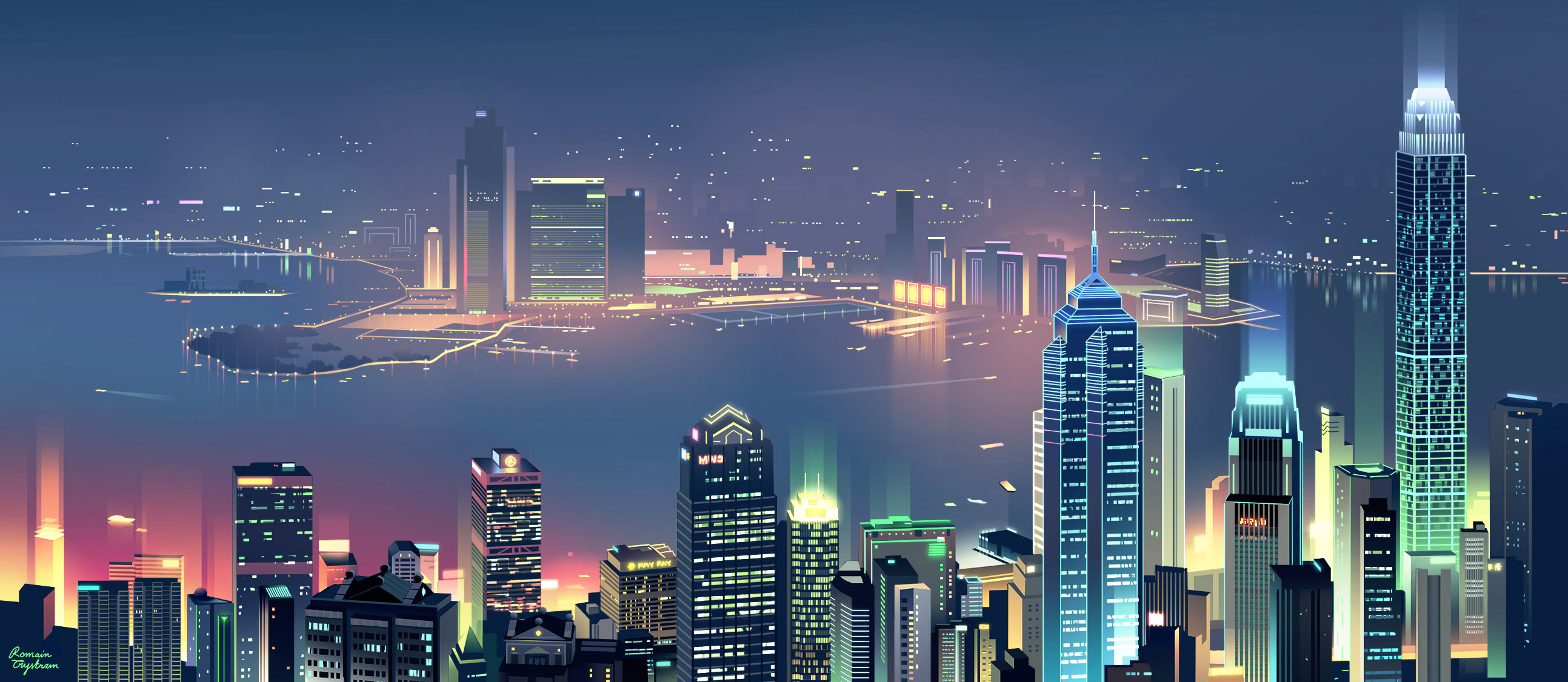 Cute Love Animations Wallpapers City Skyline Minimalist Hd Artist 4k Wallpapers Images