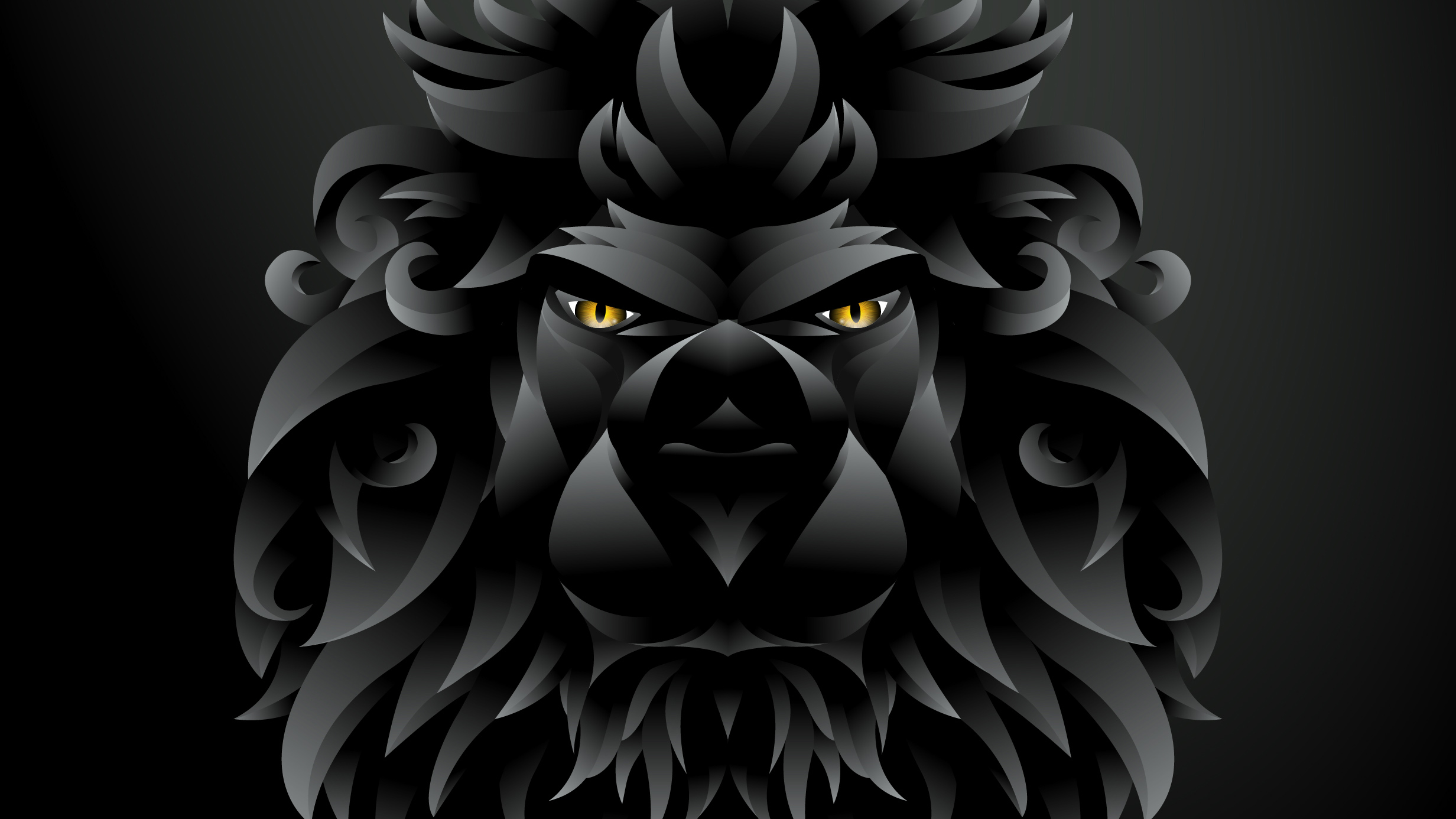 dark black lion illustration