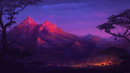 fantasy forest night deviantart digital 4k colorful mountains trees hd artwork sunset 5k mountain landscape artist wallpapers paintings painting abstract
