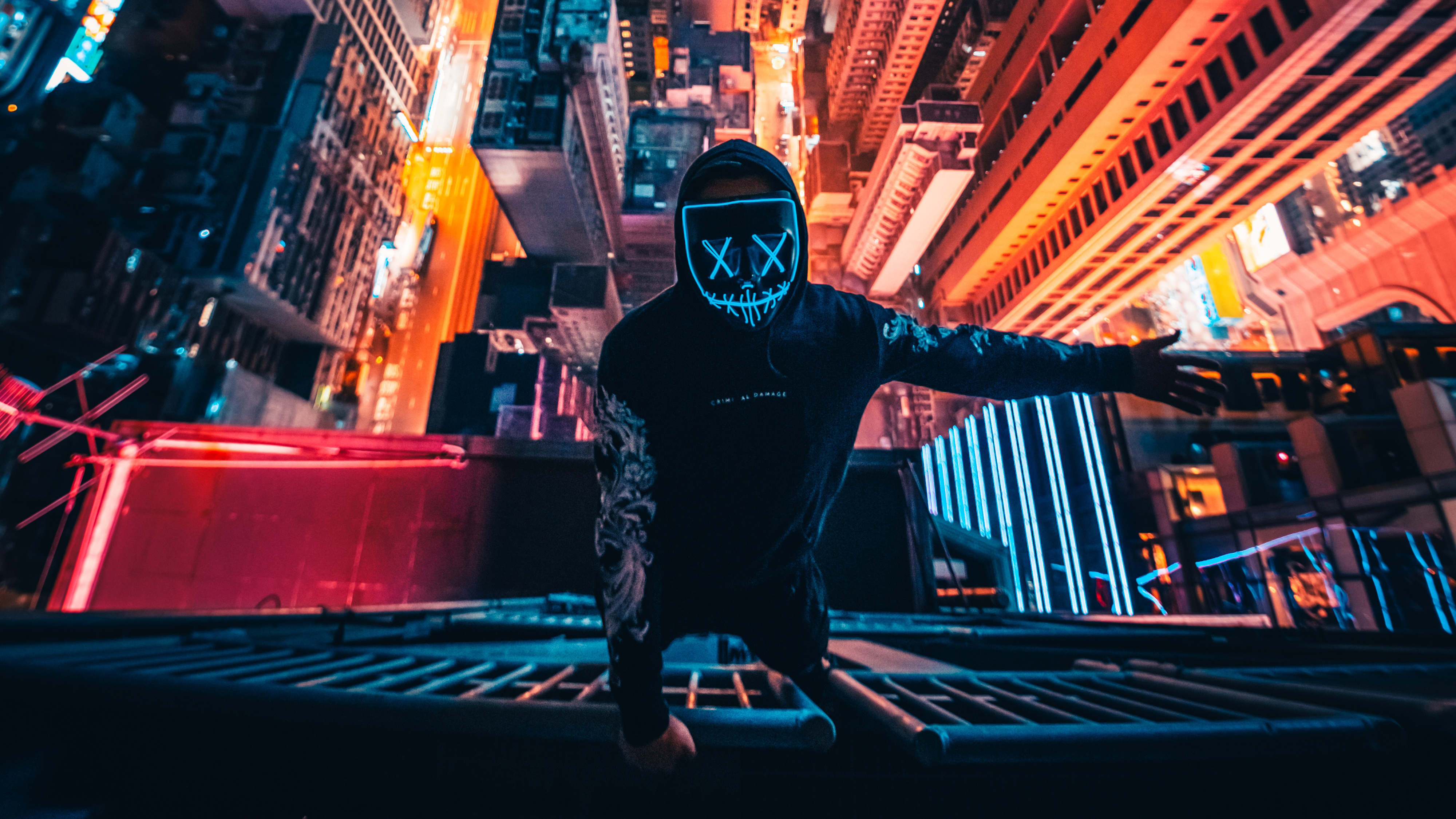 Android 3d Wallpaper Effect Neon Mask Guy Climbing Building 4k Hd Photography 4k