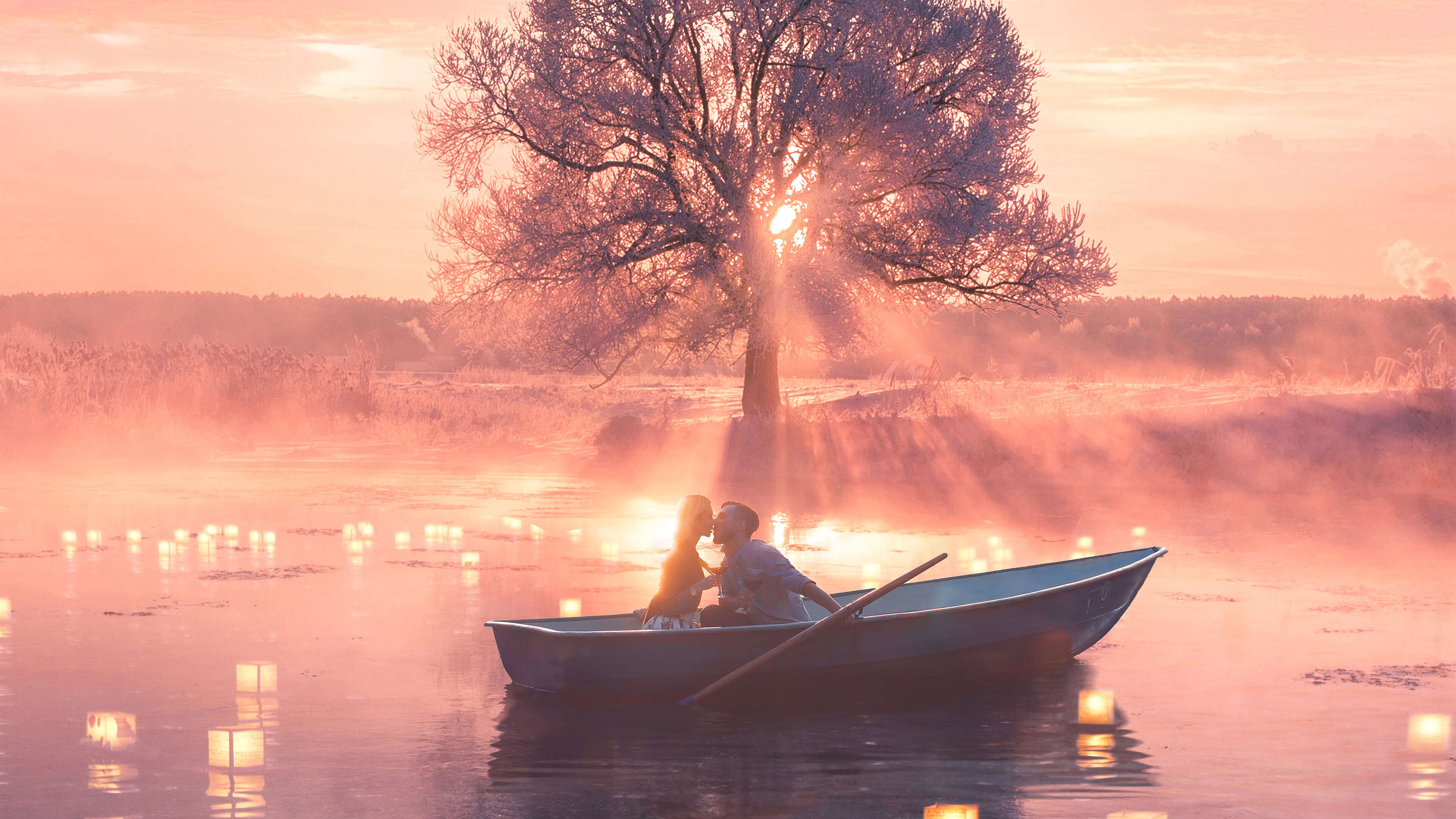 Cute Anime Couple Wallpaper Backgrounds Romantic Couple Boat Hd Love 4k Wallpapers Images