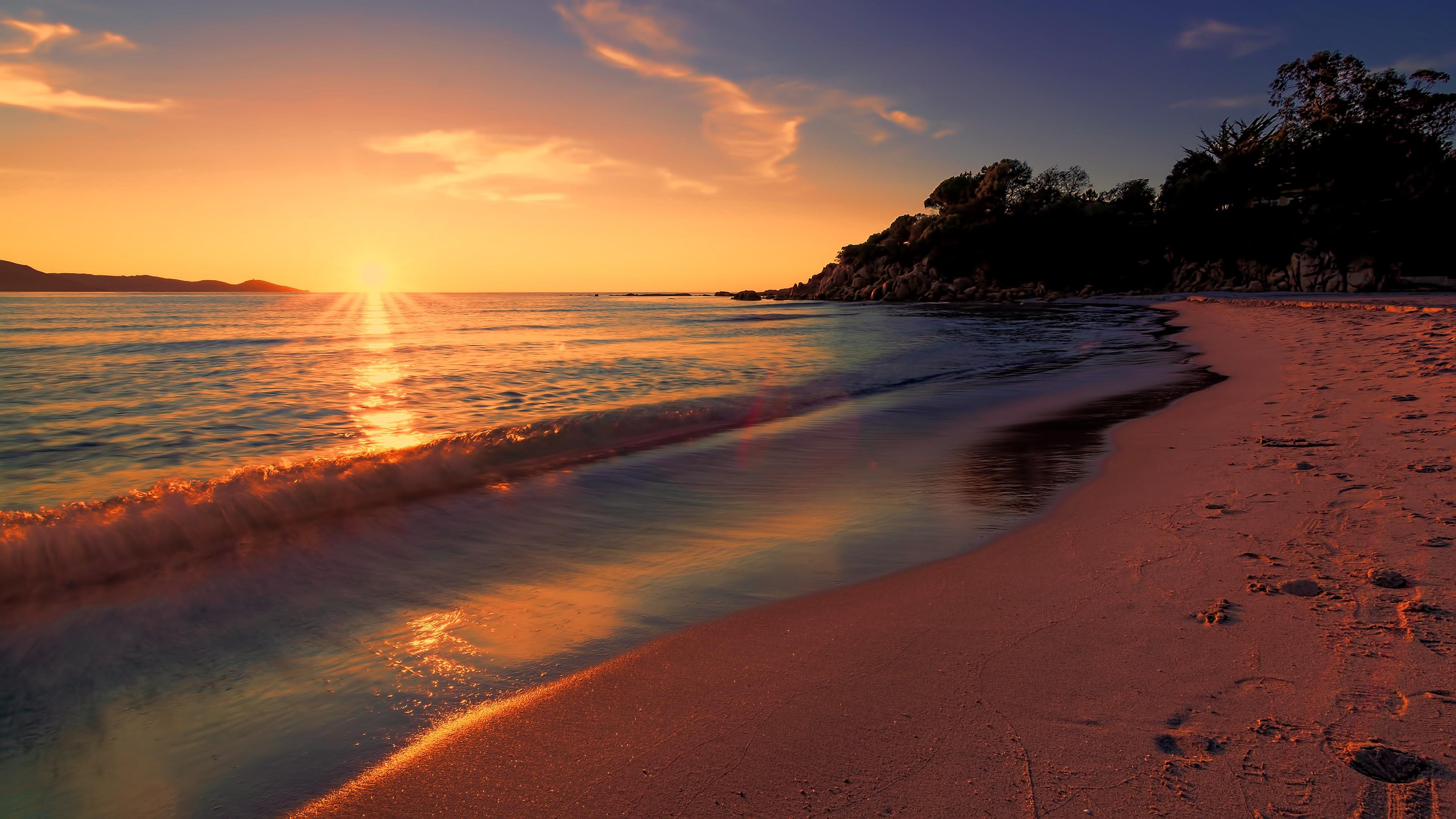 sea sunset beach sunlight
