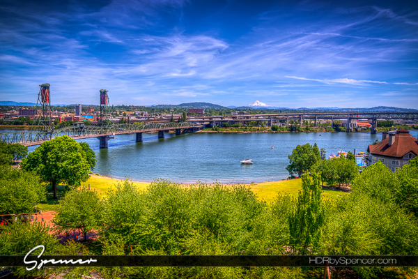 portland, portland waterfront, park, river, bridge, mt. bachelor, landscape