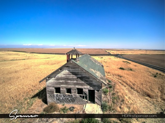 abandoned, structure, school house, eastern washington, landscape, drone photography