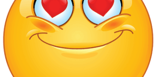 Emoticon with heart in eyes