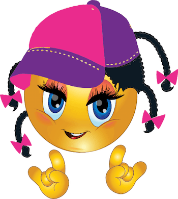 Girl emoticon with cap and ready to rock