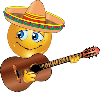 Emoticon playing guitar