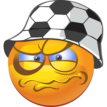 Angry emoticon wearing a fancy soccer designed cap
