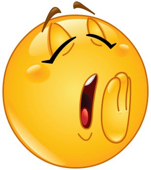 Emoticon yawning as it is tired and about to go to sleep
