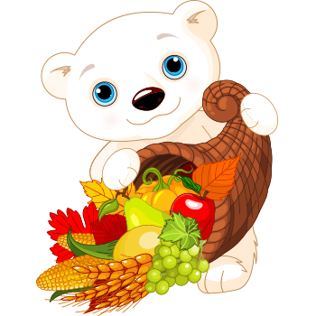Bear with basket full of fruits and vegetables.