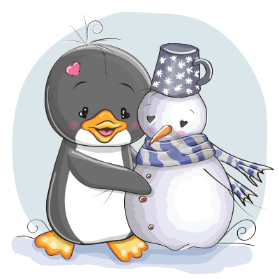 Penguin with snowman