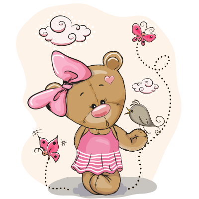 Female teddy playing with butterflies.