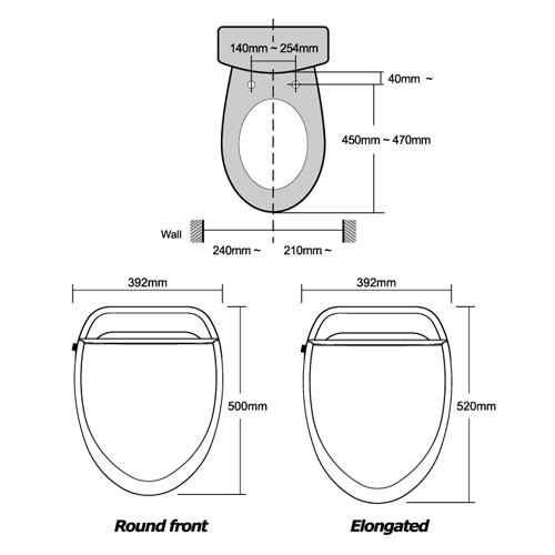 BioBidet U-SPA Elongated Bidet Toilet Seat Remote Control