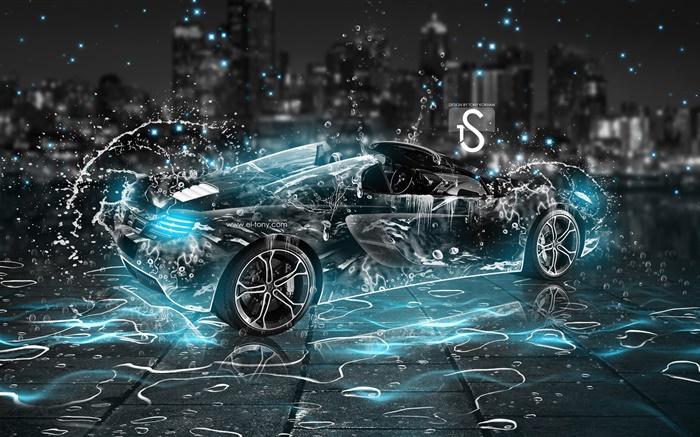 Car Black Car Wash Wallpaper Water Splash Car Black Supercar Night Creative Design