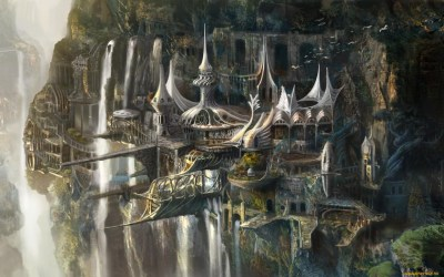 fantasy wallpapers elven kingdom elf castle forest mountain cities town village concept waterfall tower elves architecture hd cliff magical backgrounds