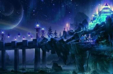 Anime Castle Background Night