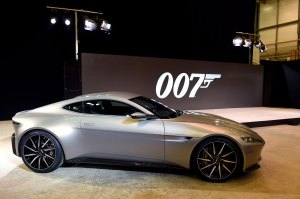 IVER HEATH, ENGLAND - DECEMBER 04: The new Aston Martin DB10 at the photocall to announce the start of the production of the 24th Bond Film 'Spectre' at Pinewood Studios on December 4, 2014 in Iver Heath, England. (Photo by Karwai Tang/WireImage)