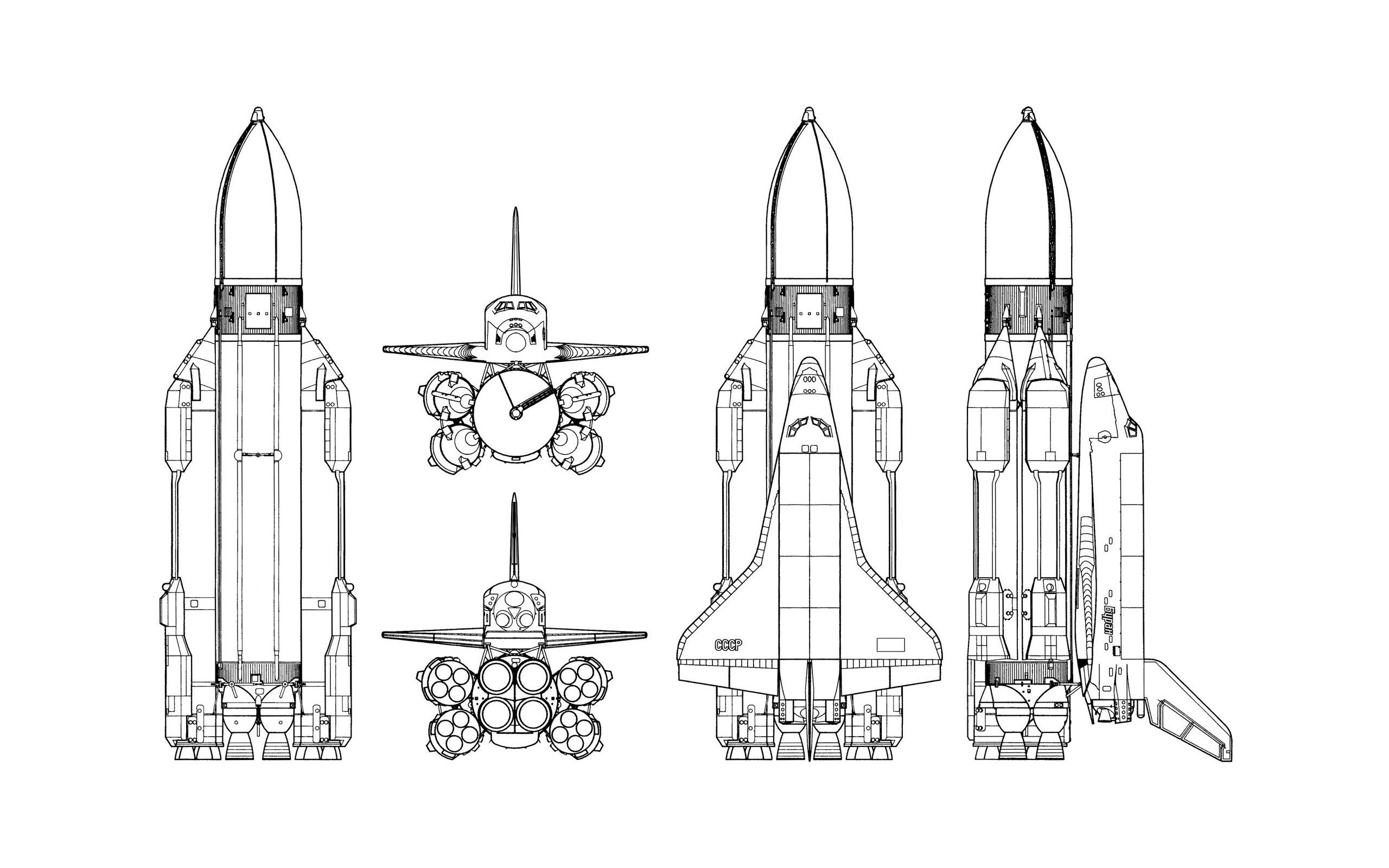Space Shuttle Ussr Rockets Simple Background Schematic