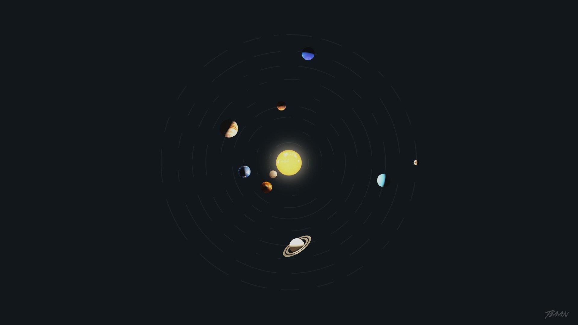 Solar System, Minimalism, Space Art, Planet, Photoshop